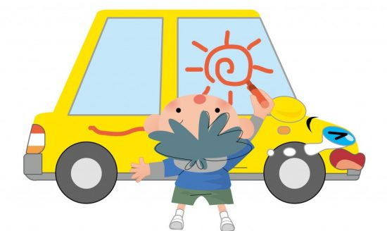 車にいらずらする子供