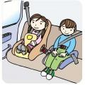 後部座席でもシートベルト・チャイルドシートは必須です。