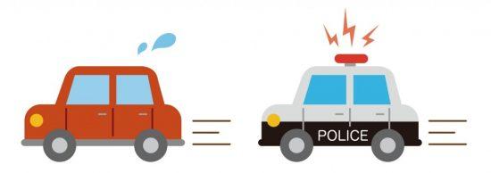 パトカーから逃げる車