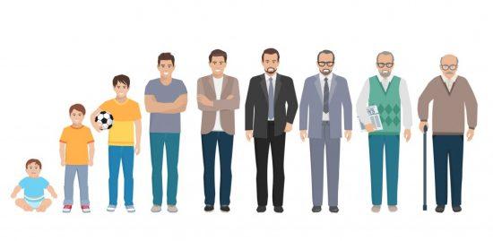 年齢層別に並んだ男性