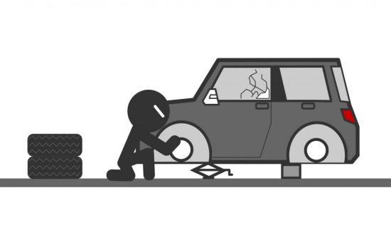 タイヤ・ホイールを盗もうとする人
