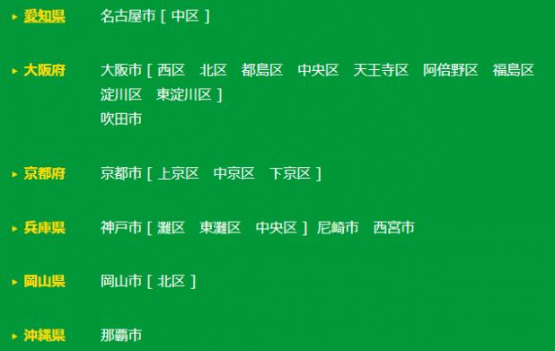 カレコステーション設置地域(関西)