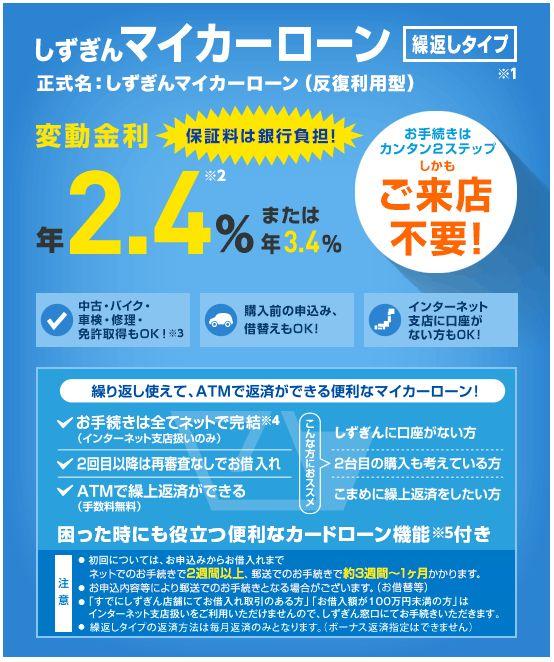 静岡銀行(しずぎん)マイカーローンはお得!?金利や審査基準について徹底解説