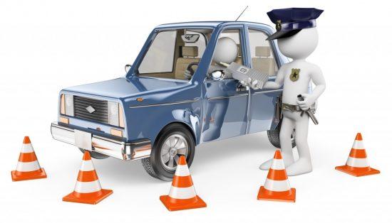 呼気検査を受けるドライバー