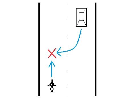 路外へ右折