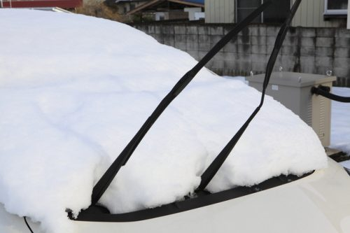 雪が車の上に積もっている